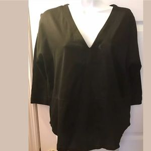 MADEWELL Luster Tee Shirt Top Blouse Black VNeck
